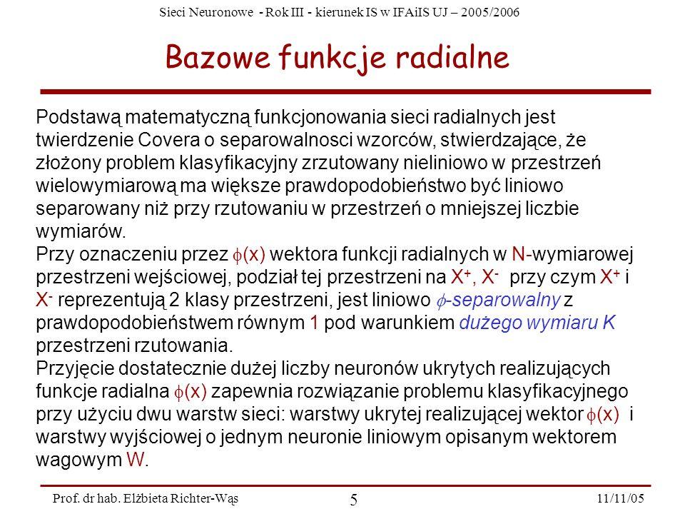 Sieci Neuronowe - Rok III - kierunek IS w IFAiIS UJ – 2005/2006 11/11/05 5 Prof. dr hab. Elżbieta Richter-Wąs Bazowe funkcje radialne Podstawą matemat
