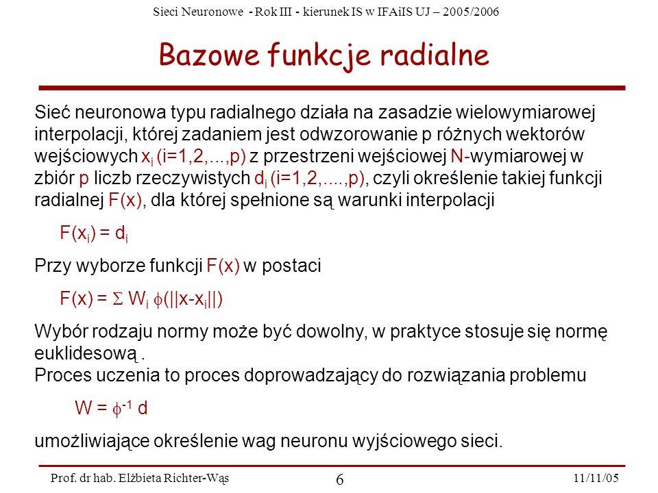 Sieci Neuronowe - Rok III - kierunek IS w IFAiIS UJ – 2005/2006 11/11/05 6 Prof. dr hab. Elżbieta Richter-Wąs Bazowe funkcje radialne Sieć neuronowa t