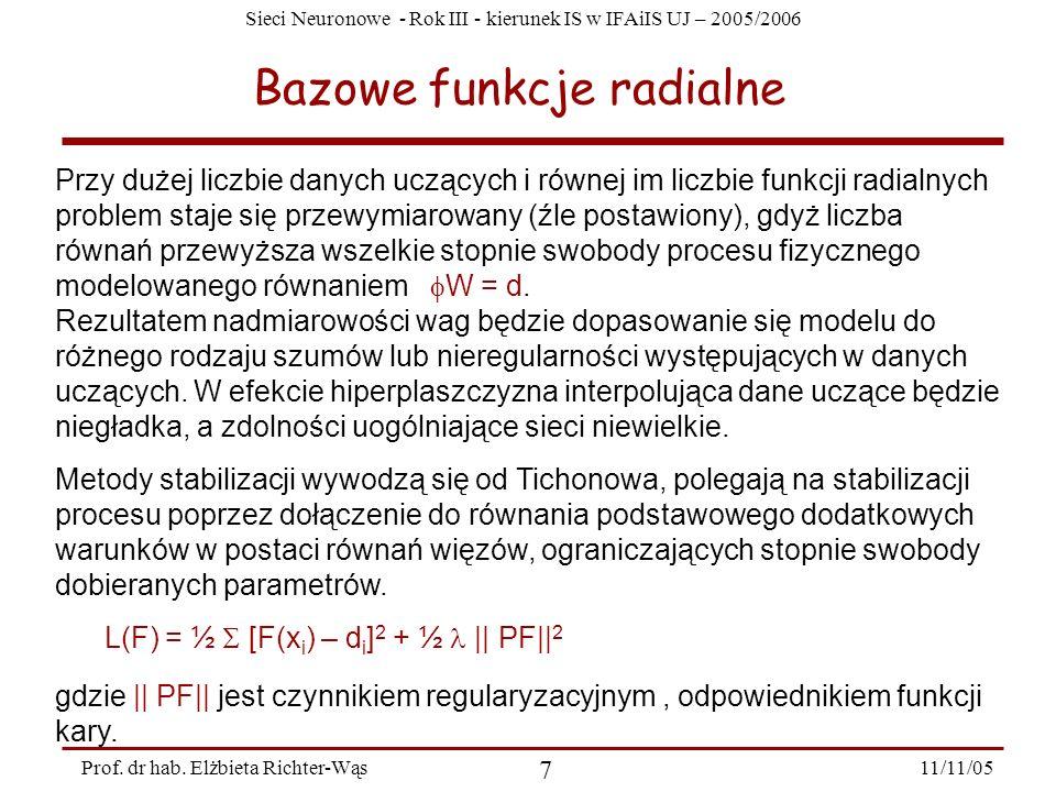 Sieci Neuronowe - Rok III - kierunek IS w IFAiIS UJ – 2005/2006 11/11/05 7 Prof. dr hab. Elżbieta Richter-Wąs Bazowe funkcje radialne Przy dużej liczb