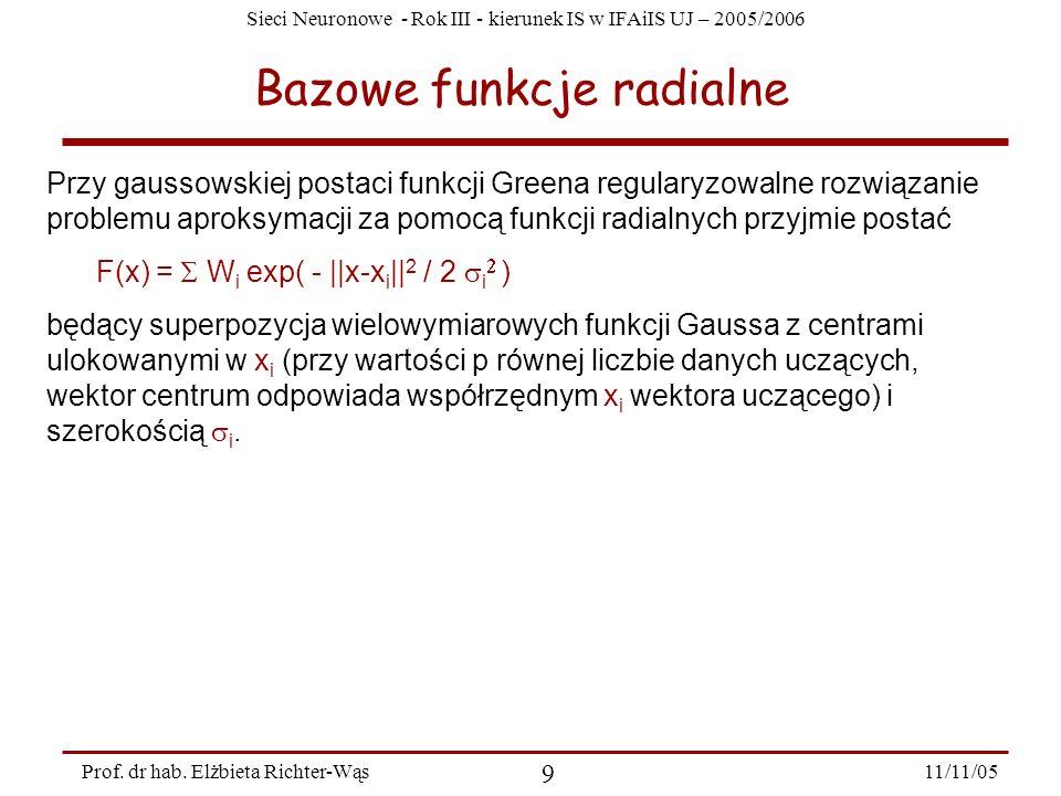 Sieci Neuronowe - Rok III - kierunek IS w IFAiIS UJ – 2005/2006 11/11/05 9 Prof. dr hab. Elżbieta Richter-Wąs Bazowe funkcje radialne Przy gaussowskie