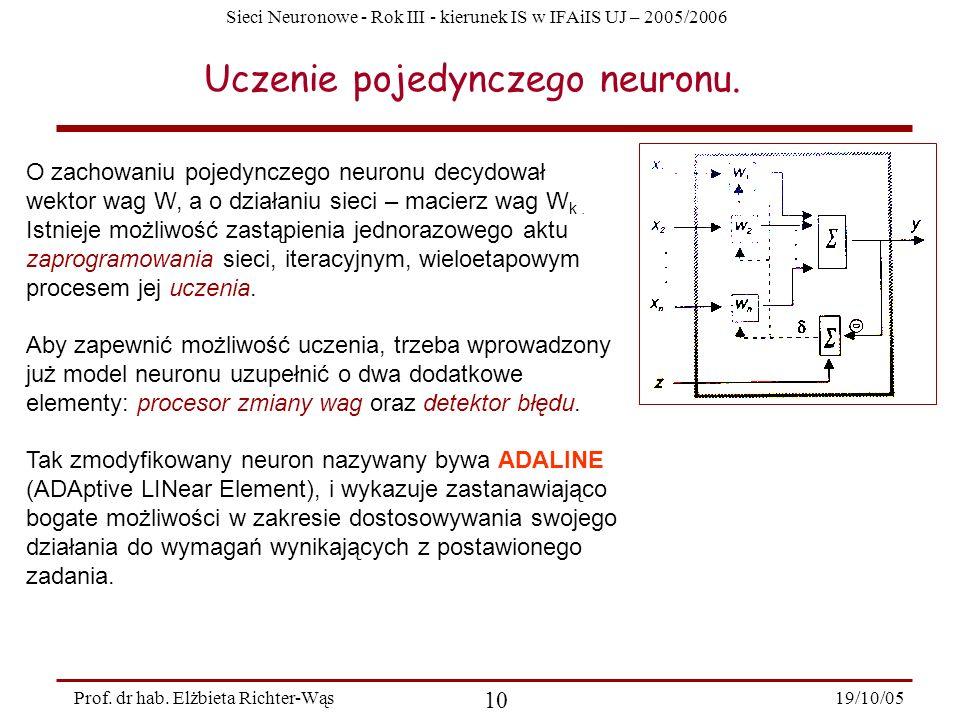Sieci Neuronowe - Rok III - kierunek IS w IFAiIS UJ – 2005/2006 19/10/05 10 Prof. dr hab. Elżbieta Richter-Wąs Uczenie pojedynczego neuronu. O zachowa