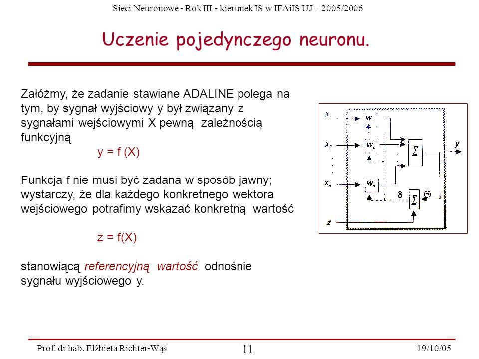 Sieci Neuronowe - Rok III - kierunek IS w IFAiIS UJ – 2005/2006 19/10/05 11 Prof. dr hab. Elżbieta Richter-Wąs Uczenie pojedynczego neuronu. Załóżmy,