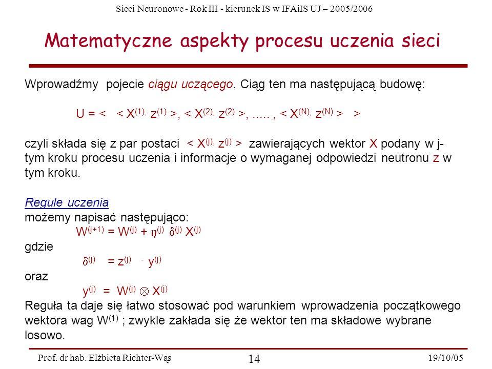 Sieci Neuronowe - Rok III - kierunek IS w IFAiIS UJ – 2005/2006 19/10/05 14 Prof. dr hab. Elżbieta Richter-Wąs Wprowadźmy pojecie ciągu uczącego. Ciąg