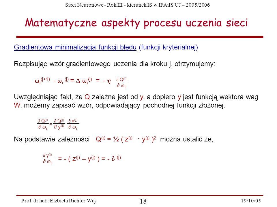 Sieci Neuronowe - Rok III - kierunek IS w IFAiIS UJ – 2005/2006 19/10/05 18 Prof. dr hab. Elżbieta Richter-Wąs Gradientowa minimalizacja funkcji błędu