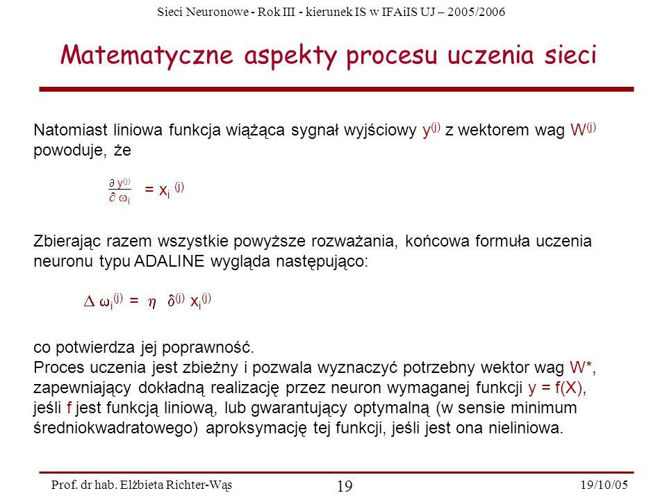 Sieci Neuronowe - Rok III - kierunek IS w IFAiIS UJ – 2005/2006 19/10/05 19 Prof. dr hab. Elżbieta Richter-Wąs Natomiast liniowa funkcja wiążąca sygna