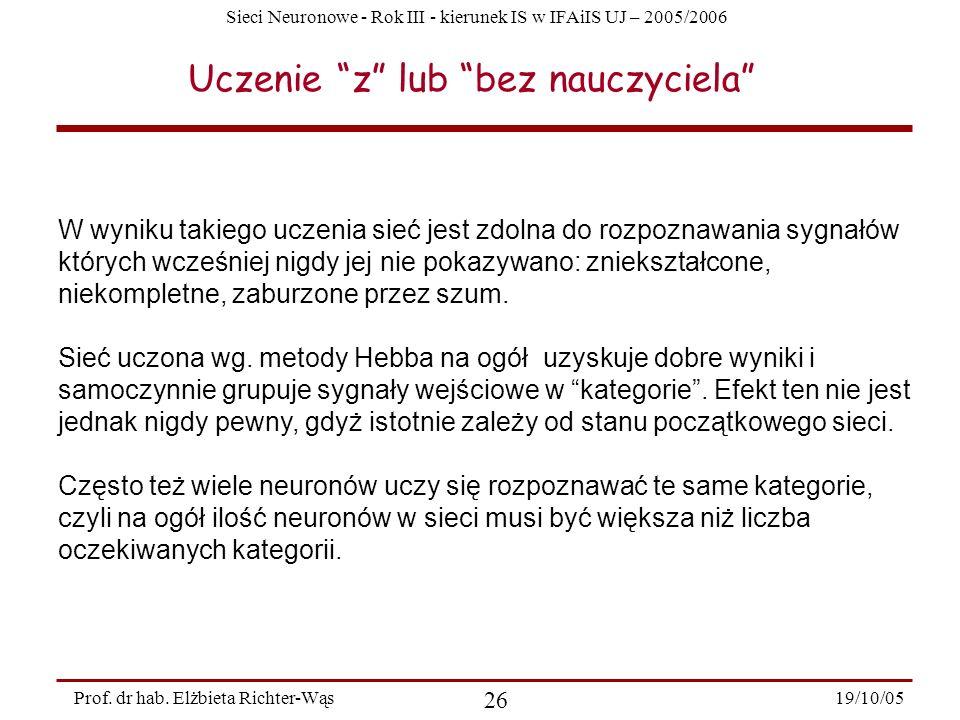 Sieci Neuronowe - Rok III - kierunek IS w IFAiIS UJ – 2005/2006 19/10/05 26 Prof. dr hab. Elżbieta Richter-Wąs Uczenie z lub bez nauczyciela W wyniku