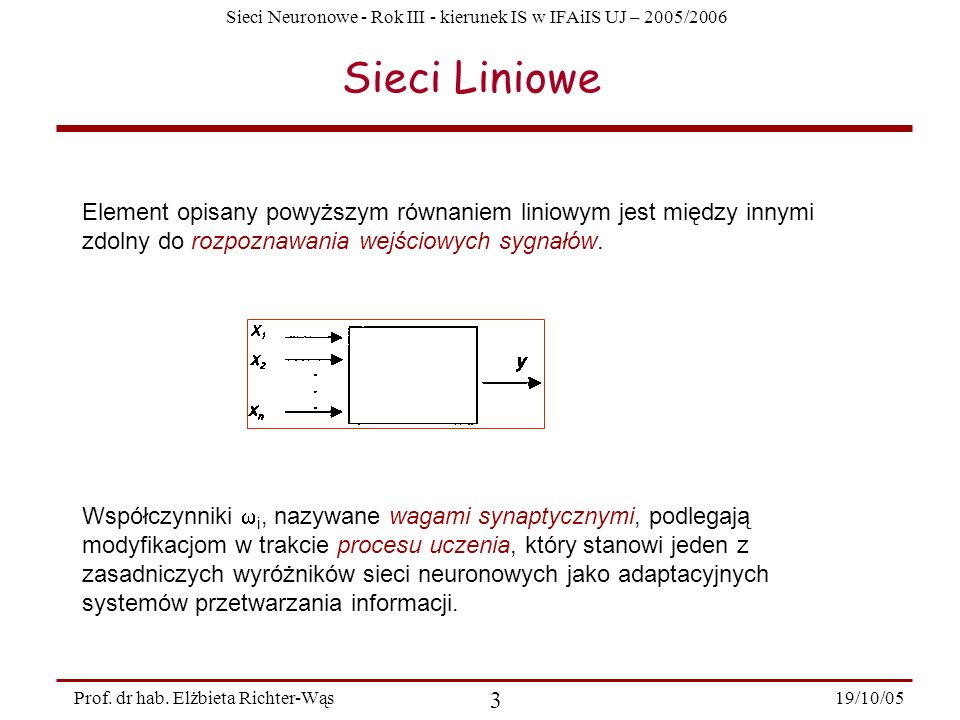 Sieci Neuronowe - Rok III - kierunek IS w IFAiIS UJ – 2005/2006 19/10/05 14 Prof.