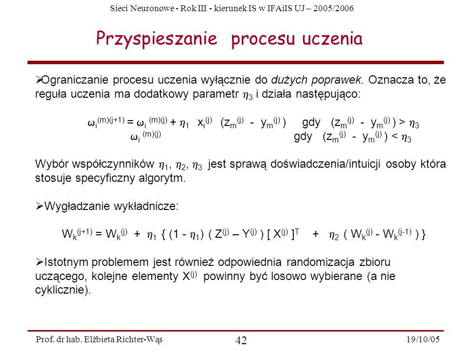 Sieci Neuronowe - Rok III - kierunek IS w IFAiIS UJ – 2005/2006 19/10/05 42 Prof. dr hab. Elżbieta Richter-Wąs Przyspieszanie procesu uczenia Ogranicz