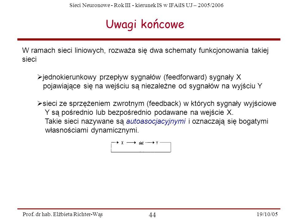 Sieci Neuronowe - Rok III - kierunek IS w IFAiIS UJ – 2005/2006 19/10/05 44 Prof. dr hab. Elżbieta Richter-Wąs Uwagi końcowe W ramach sieci liniowych,