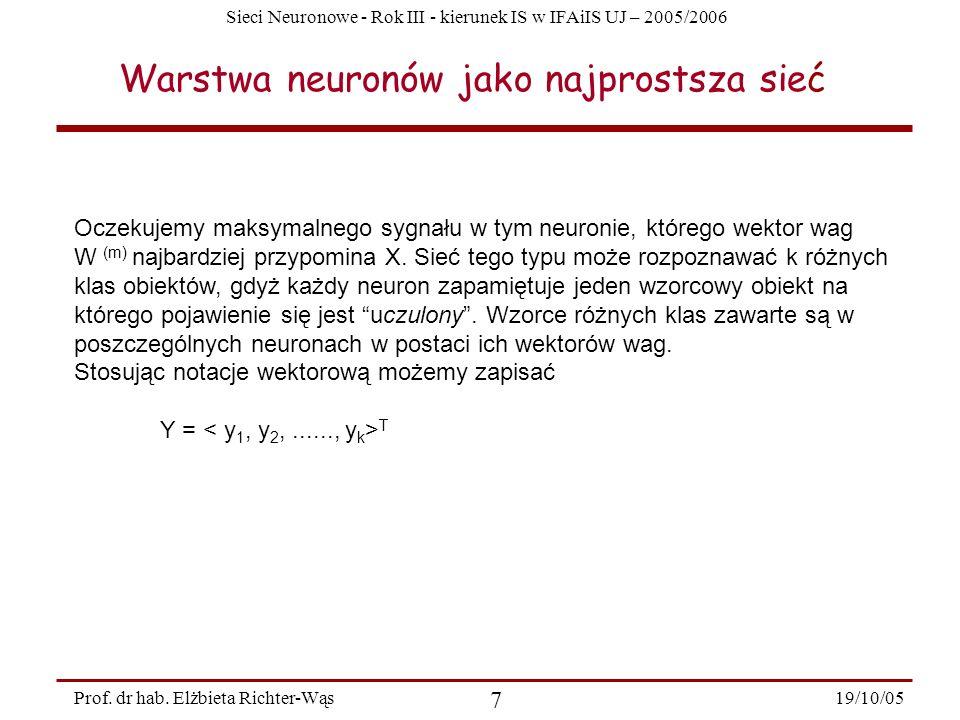 Sieci Neuronowe - Rok III - kierunek IS w IFAiIS UJ – 2005/2006 19/10/05 7 Prof. dr hab. Elżbieta Richter-Wąs Warstwa neuronów jako najprostsza sieć O