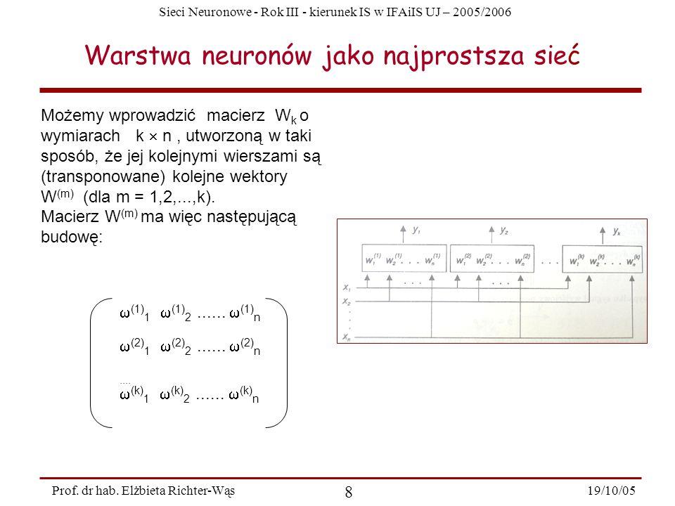 Sieci Neuronowe - Rok III - kierunek IS w IFAiIS UJ – 2005/2006 19/10/05 8 Prof. dr hab. Elżbieta Richter-Wąs Warstwa neuronów jako najprostsza sieć M