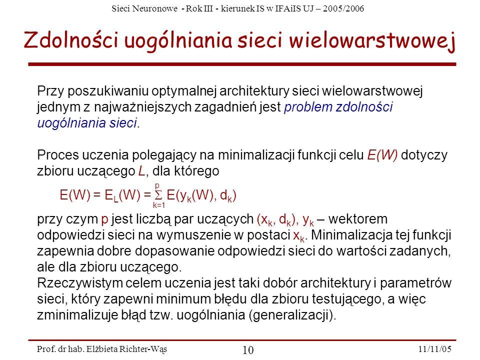 Sieci Neuronowe - Rok III - kierunek IS w IFAiIS UJ – 2005/2006 11/11/05 10 Prof. dr hab. Elżbieta Richter-Wąs Zdolności uogólniania sieci wielowarstw