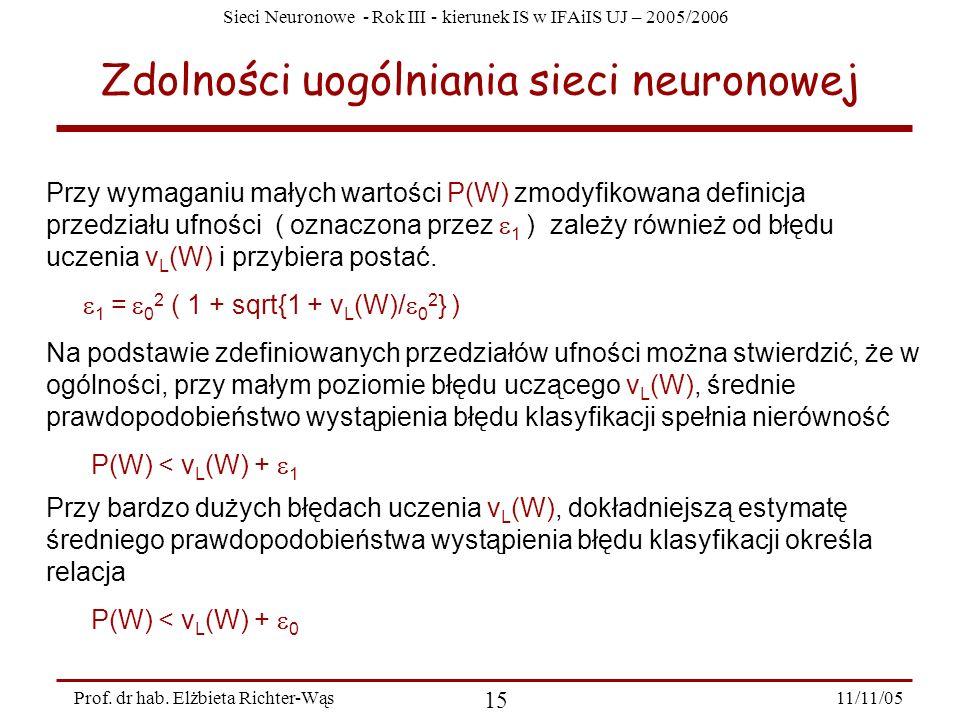 Sieci Neuronowe - Rok III - kierunek IS w IFAiIS UJ – 2005/2006 11/11/05 15 Prof. dr hab. Elżbieta Richter-Wąs Zdolności uogólniania sieci neuronowej
