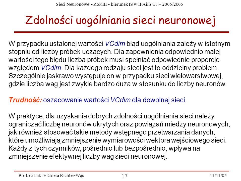 Sieci Neuronowe - Rok III - kierunek IS w IFAiIS UJ – 2005/2006 11/11/05 17 Prof. dr hab. Elżbieta Richter-Wąs Zdolności uogólniania sieci neuronowej
