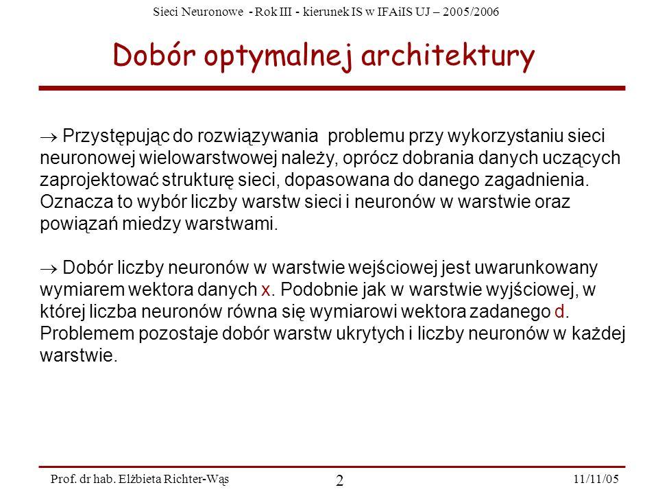 Sieci Neuronowe - Rok III - kierunek IS w IFAiIS UJ – 2005/2006 11/11/05 2 Prof. dr hab. Elżbieta Richter-Wąs Dobór optymalnej architektury Przystępuj