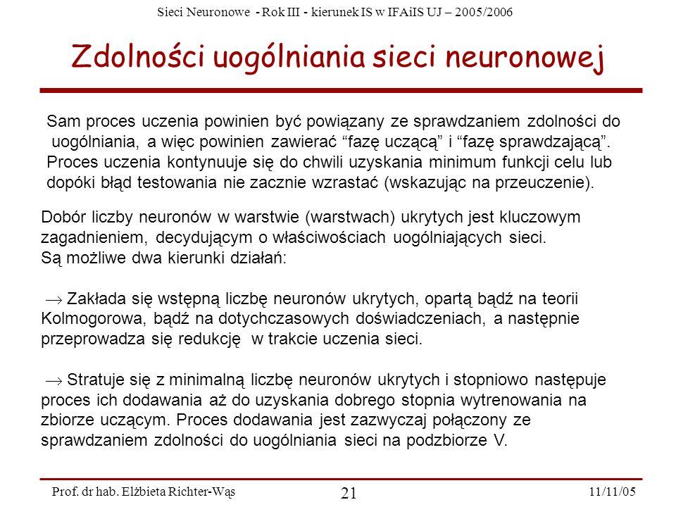 Sieci Neuronowe - Rok III - kierunek IS w IFAiIS UJ – 2005/2006 11/11/05 21 Prof. dr hab. Elżbieta Richter-Wąs Zdolności uogólniania sieci neuronowej