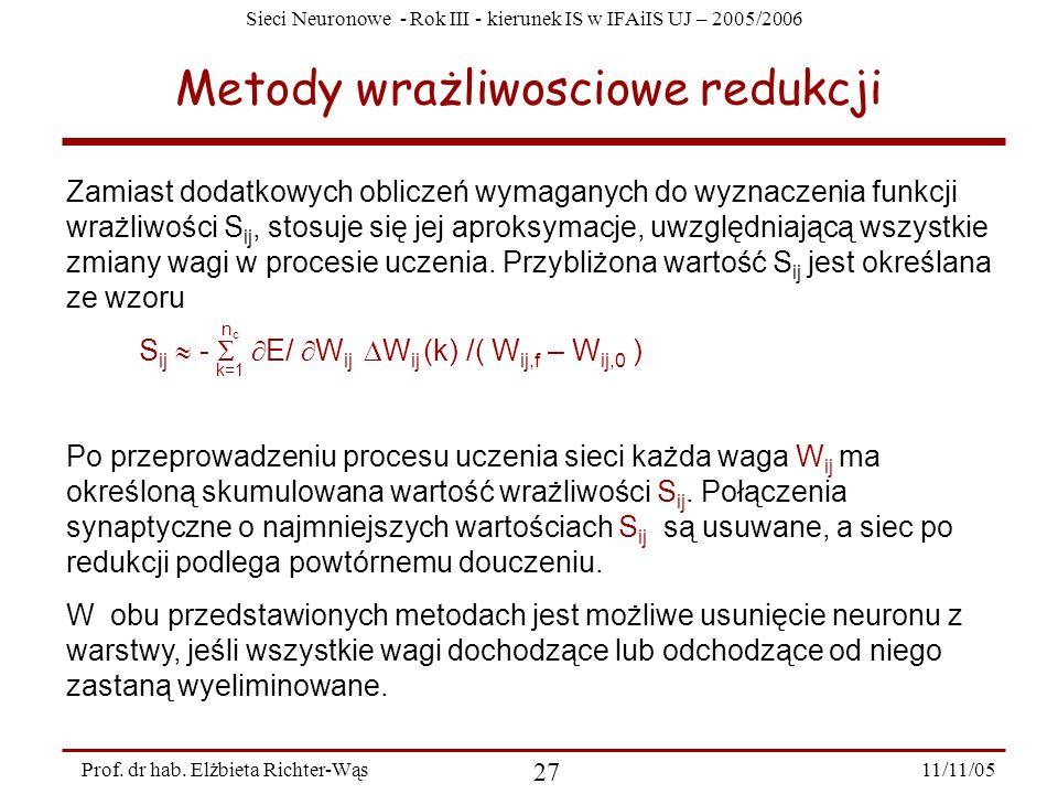 Sieci Neuronowe - Rok III - kierunek IS w IFAiIS UJ – 2005/2006 11/11/05 27 Prof. dr hab. Elżbieta Richter-Wąs Metody wrażliwosciowe redukcji Zamiast