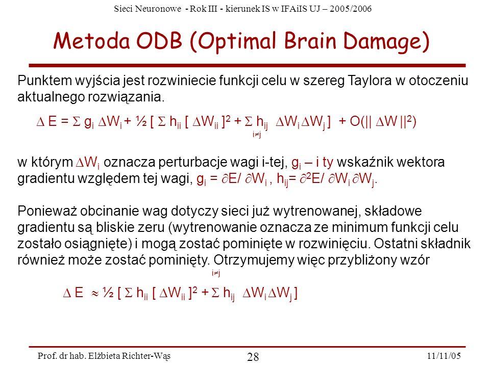 Sieci Neuronowe - Rok III - kierunek IS w IFAiIS UJ – 2005/2006 11/11/05 28 Prof. dr hab. Elżbieta Richter-Wąs Metoda ODB (Optimal Brain Damage) Punkt