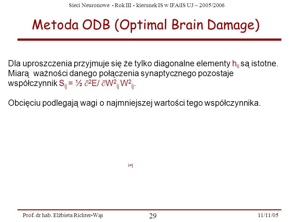Sieci Neuronowe - Rok III - kierunek IS w IFAiIS UJ – 2005/2006 11/11/05 29 Prof. dr hab. Elżbieta Richter-Wąs Metoda ODB (Optimal Brain Damage) Dla u