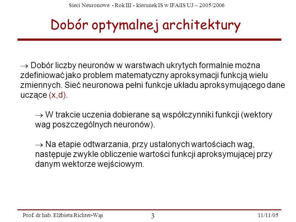 Sieci Neuronowe - Rok III - kierunek IS w IFAiIS UJ – 2005/2006 11/11/05 3 Prof. dr hab. Elżbieta Richter-Wąs Dobór optymalnej architektury Dobór licz