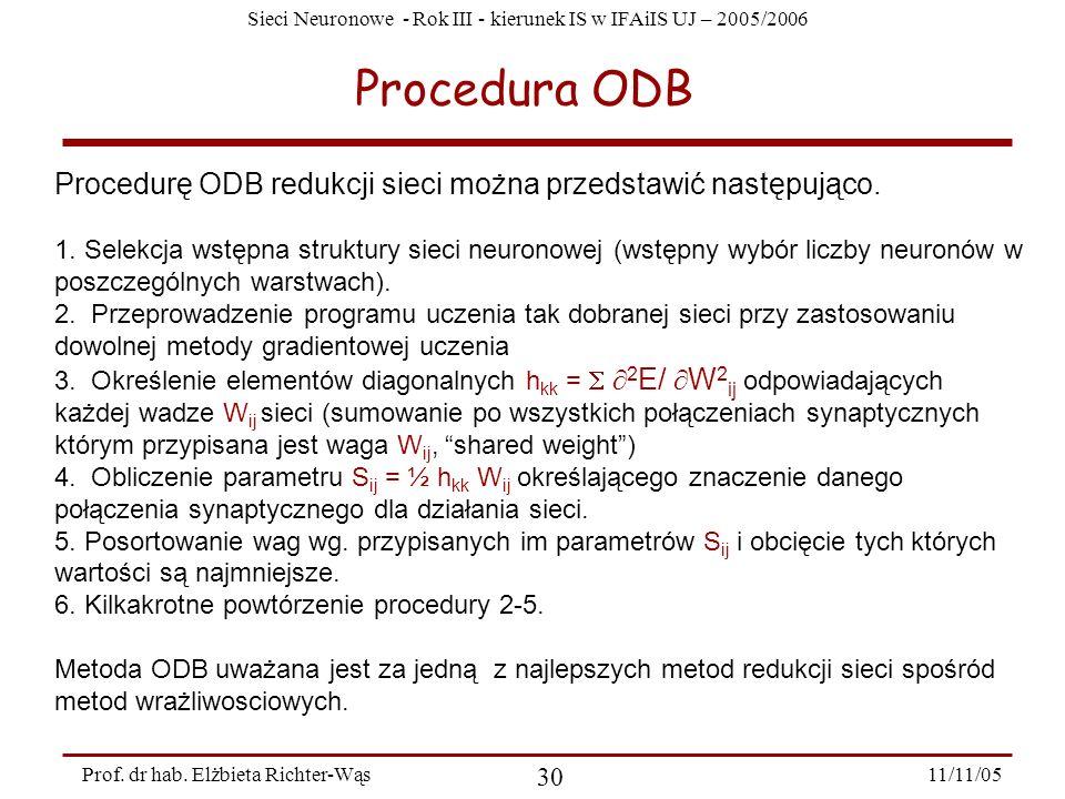 Sieci Neuronowe - Rok III - kierunek IS w IFAiIS UJ – 2005/2006 11/11/05 30 Prof. dr hab. Elżbieta Richter-Wąs Procedura ODB Procedurę ODB redukcji si