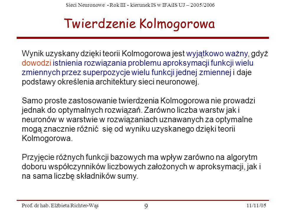 Sieci Neuronowe - Rok III - kierunek IS w IFAiIS UJ – 2005/2006 11/11/05 9 Prof. dr hab. Elżbieta Richter-Wąs Twierdzenie Kolmogorowa Wynik uzyskany d