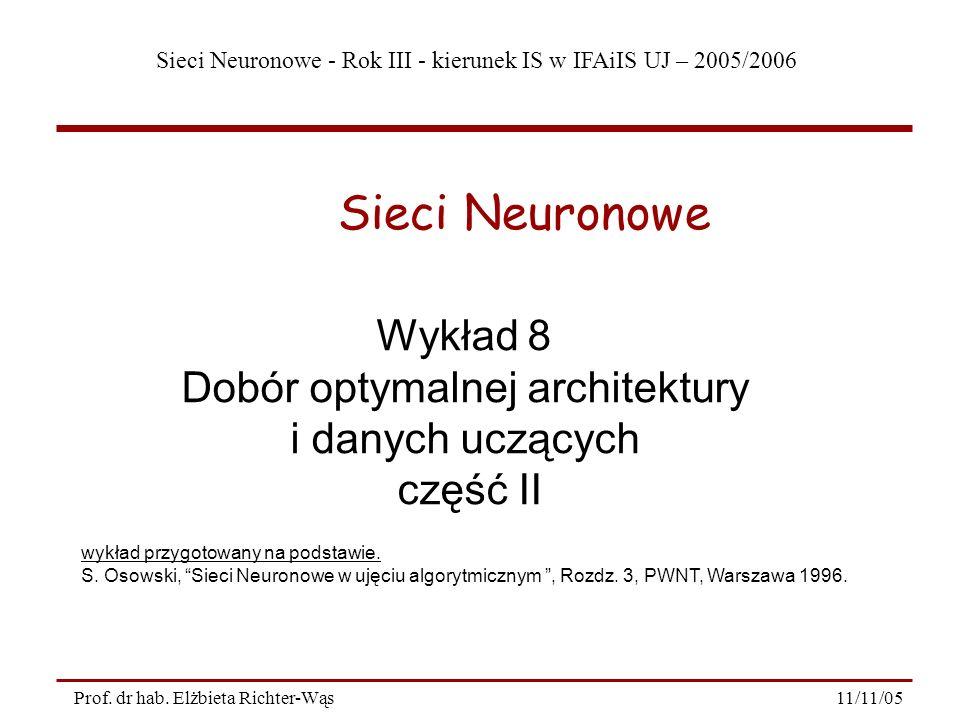 Sieci Neuronowe - Rok III - kierunek IS w IFAiIS UJ – 2005/2006 11/11/05Prof. dr hab. Elżbieta Richter-Wąs Wykład 8 Dobór optymalnej architektury i da