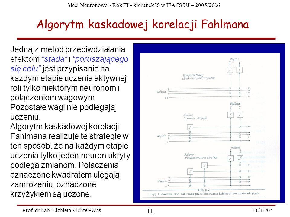 Sieci Neuronowe - Rok III - kierunek IS w IFAiIS UJ – 2005/2006 11/11/05 11 Prof. dr hab. Elżbieta Richter-Wąs Algorytm kaskadowej korelacji Fahlmana