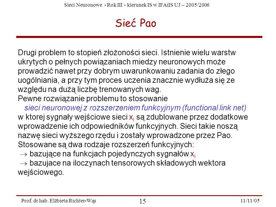 Sieci Neuronowe - Rok III - kierunek IS w IFAiIS UJ – 2005/2006 11/11/05 15 Prof. dr hab. Elżbieta Richter-Wąs Sieć Pao Drugi problem to stopień złożo
