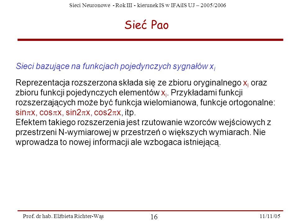 Sieci Neuronowe - Rok III - kierunek IS w IFAiIS UJ – 2005/2006 11/11/05 16 Prof. dr hab. Elżbieta Richter-Wąs Sieć Pao Sieci bazujące na funkcjach po