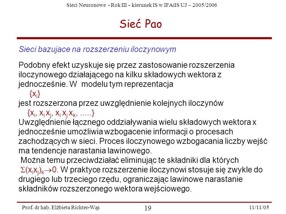 Sieci Neuronowe - Rok III - kierunek IS w IFAiIS UJ – 2005/2006 11/11/05 19 Prof. dr hab. Elżbieta Richter-Wąs Sieć Pao Sieci bazujace na rozszerzeniu