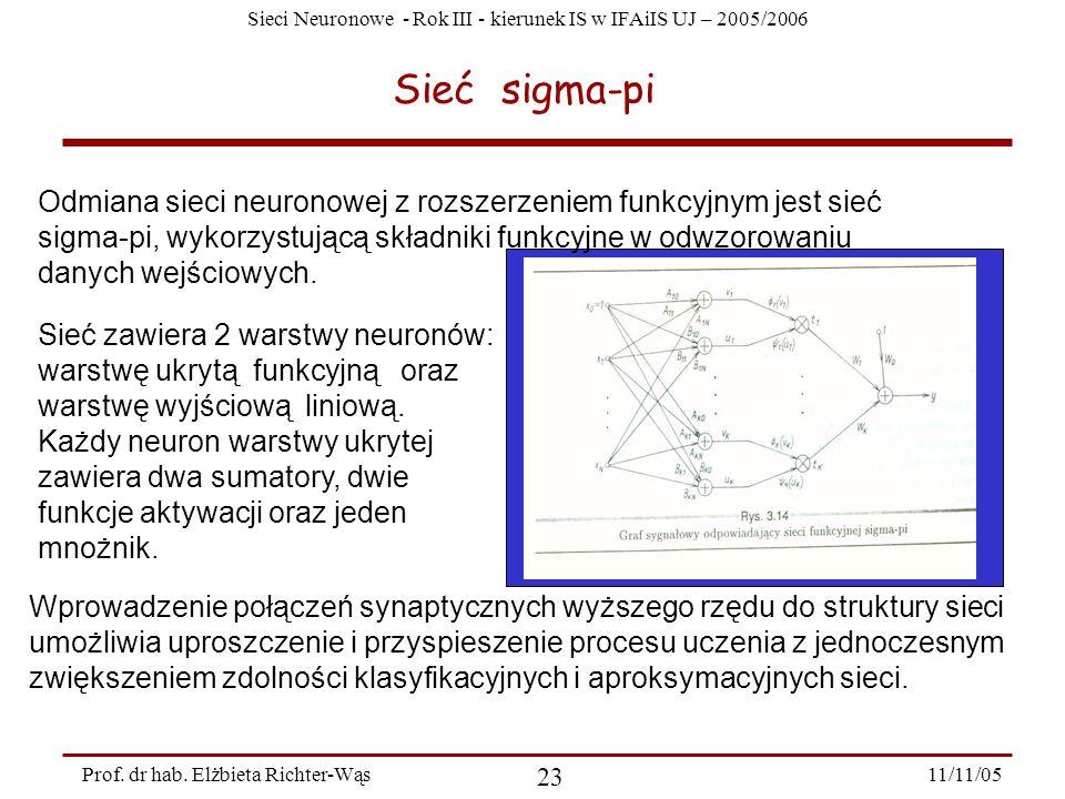 Sieci Neuronowe - Rok III - kierunek IS w IFAiIS UJ – 2005/2006 11/11/05 23 Prof. dr hab. Elżbieta Richter-Wąs Sieć sigma-pi Odmiana sieci neuronowej