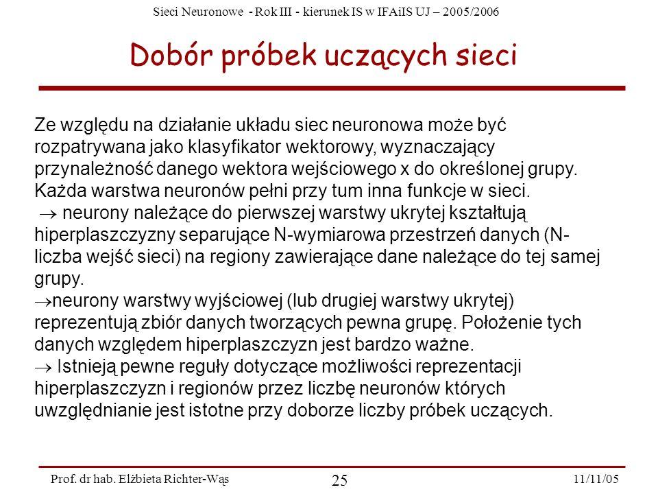 Sieci Neuronowe - Rok III - kierunek IS w IFAiIS UJ – 2005/2006 11/11/05 25 Prof. dr hab. Elżbieta Richter-Wąs Dobór próbek uczących sieci Ze względu