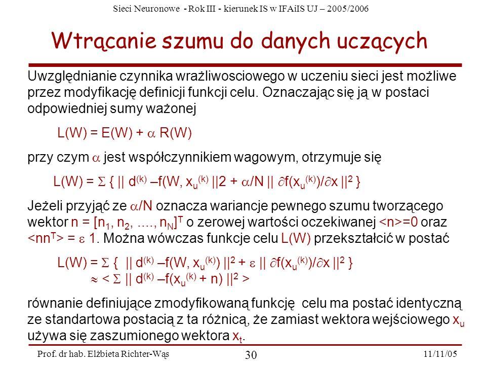 Sieci Neuronowe - Rok III - kierunek IS w IFAiIS UJ – 2005/2006 11/11/05 30 Prof. dr hab. Elżbieta Richter-Wąs Wtrącanie szumu do danych uczących Uwzg