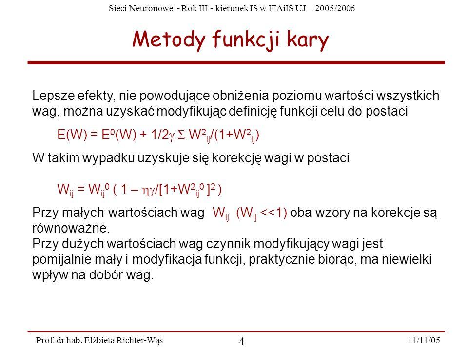 Sieci Neuronowe - Rok III - kierunek IS w IFAiIS UJ – 2005/2006 11/11/05 4 Prof. dr hab. Elżbieta Richter-Wąs Metody funkcji kary Lepsze efekty, nie p