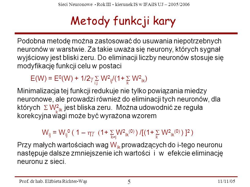 Sieci Neuronowe - Rok III - kierunek IS w IFAiIS UJ – 2005/2006 11/11/05 5 Prof. dr hab. Elżbieta Richter-Wąs Metody funkcji kary Podobna metodę można