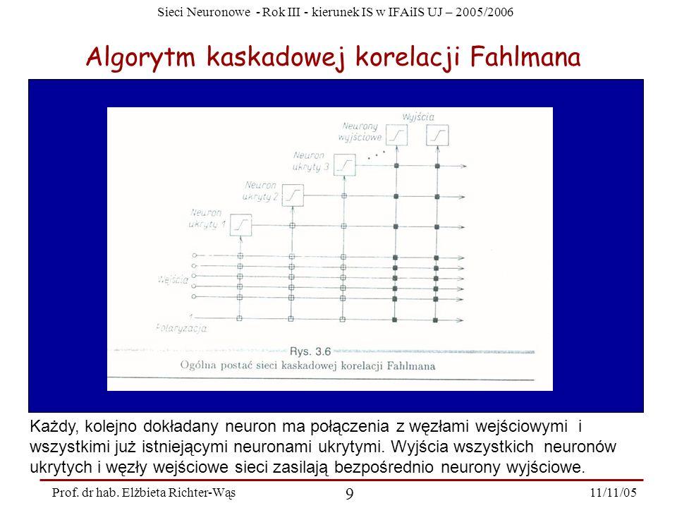 Sieci Neuronowe - Rok III - kierunek IS w IFAiIS UJ – 2005/2006 11/11/05 9 Prof. dr hab. Elżbieta Richter-Wąs Algorytm kaskadowej korelacji Fahlmana K