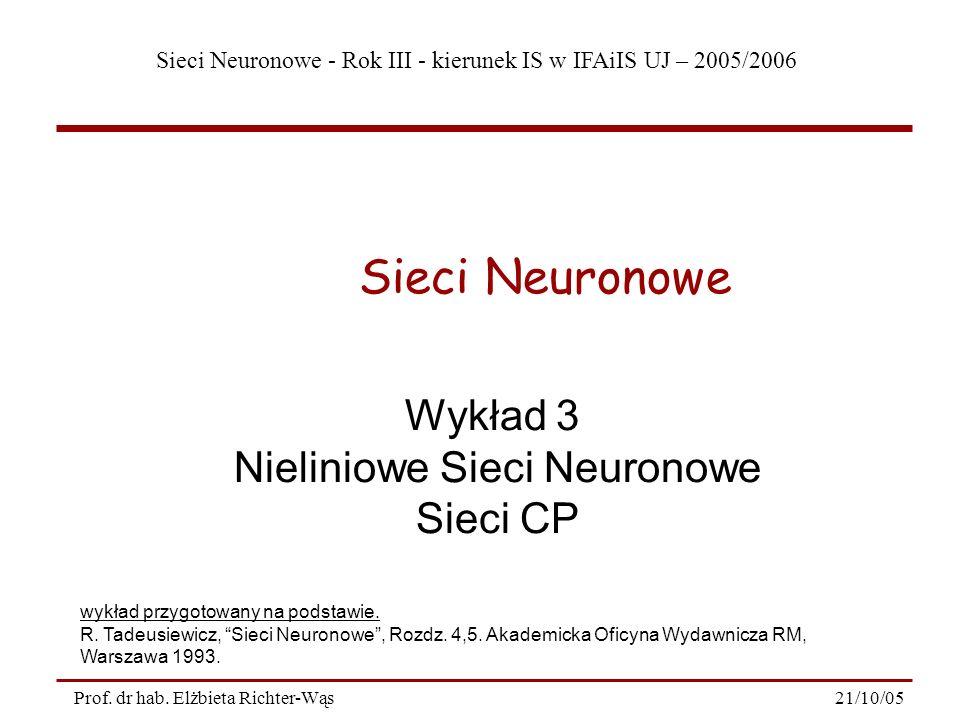 Sieci Neuronowe - Rok III - kierunek IS w IFAiIS UJ – 2005/2006 21/10/05Prof. dr hab. Elżbieta Richter-Wąs Wykład 3 Nieliniowe Sieci Neuronowe Sieci C