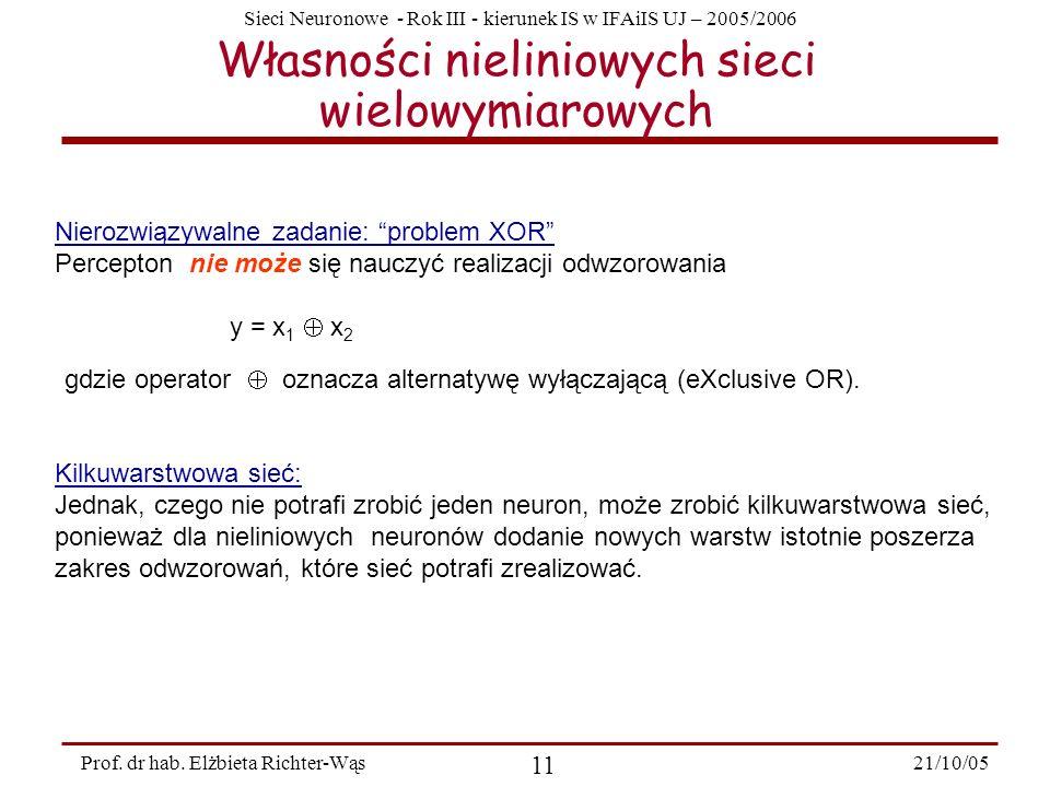 Sieci Neuronowe - Rok III - kierunek IS w IFAiIS UJ – 2005/2006 21/10/05 11 Prof. dr hab. Elżbieta Richter-Wąs Własności nieliniowych sieci wielowymia