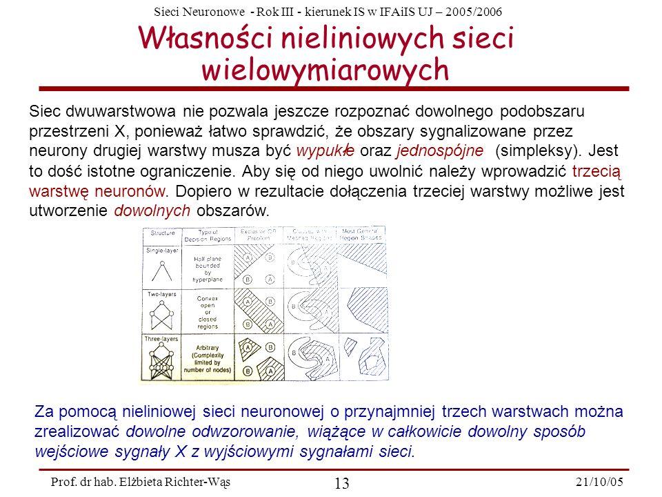 Sieci Neuronowe - Rok III - kierunek IS w IFAiIS UJ – 2005/2006 21/10/05 13 Prof. dr hab. Elżbieta Richter-Wąs Własności nieliniowych sieci wielowymia