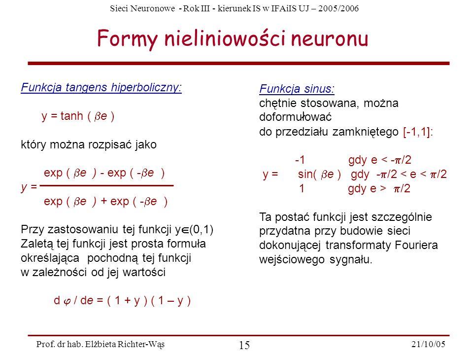 Sieci Neuronowe - Rok III - kierunek IS w IFAiIS UJ – 2005/2006 21/10/05 15 Prof. dr hab. Elżbieta Richter-Wąs Formy nieliniowości neuronu Funkcja tan