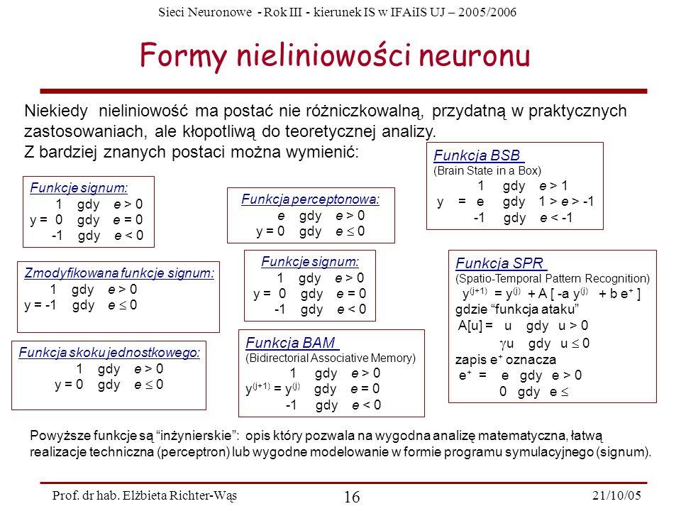 Sieci Neuronowe - Rok III - kierunek IS w IFAiIS UJ – 2005/2006 21/10/05 16 Prof. dr hab. Elżbieta Richter-Wąs Formy nieliniowości neuronu Niekiedy ni