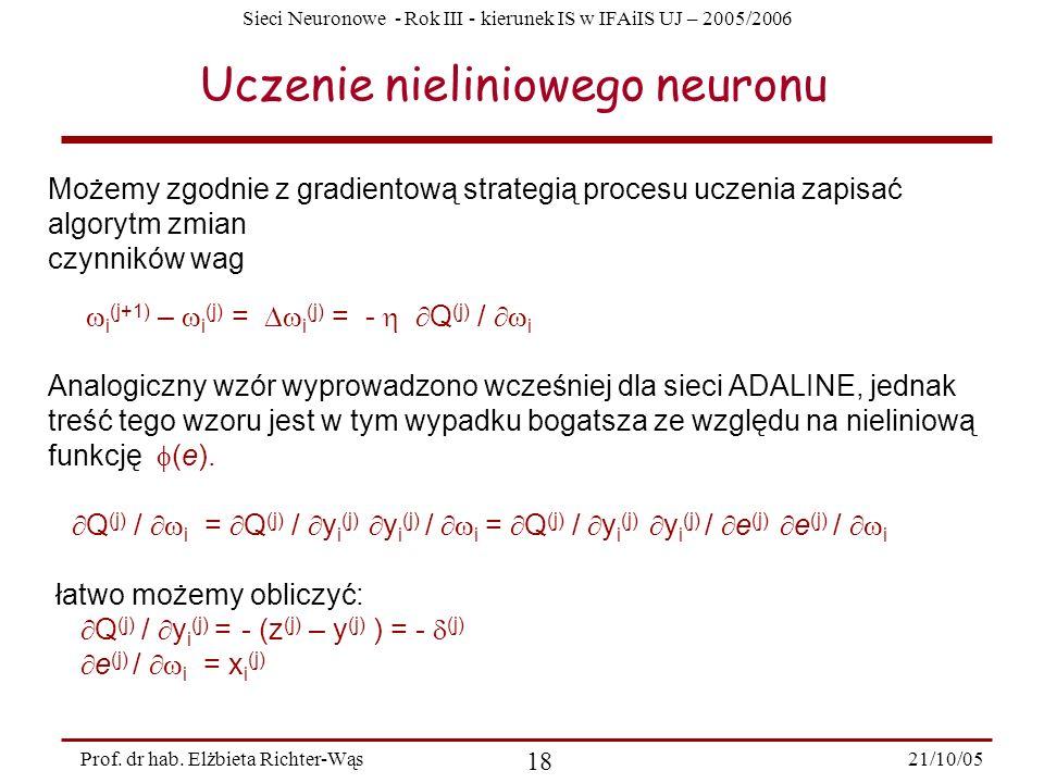 Sieci Neuronowe - Rok III - kierunek IS w IFAiIS UJ – 2005/2006 21/10/05 18 Prof. dr hab. Elżbieta Richter-Wąs Uczenie nieliniowego neuronu Możemy zgo
