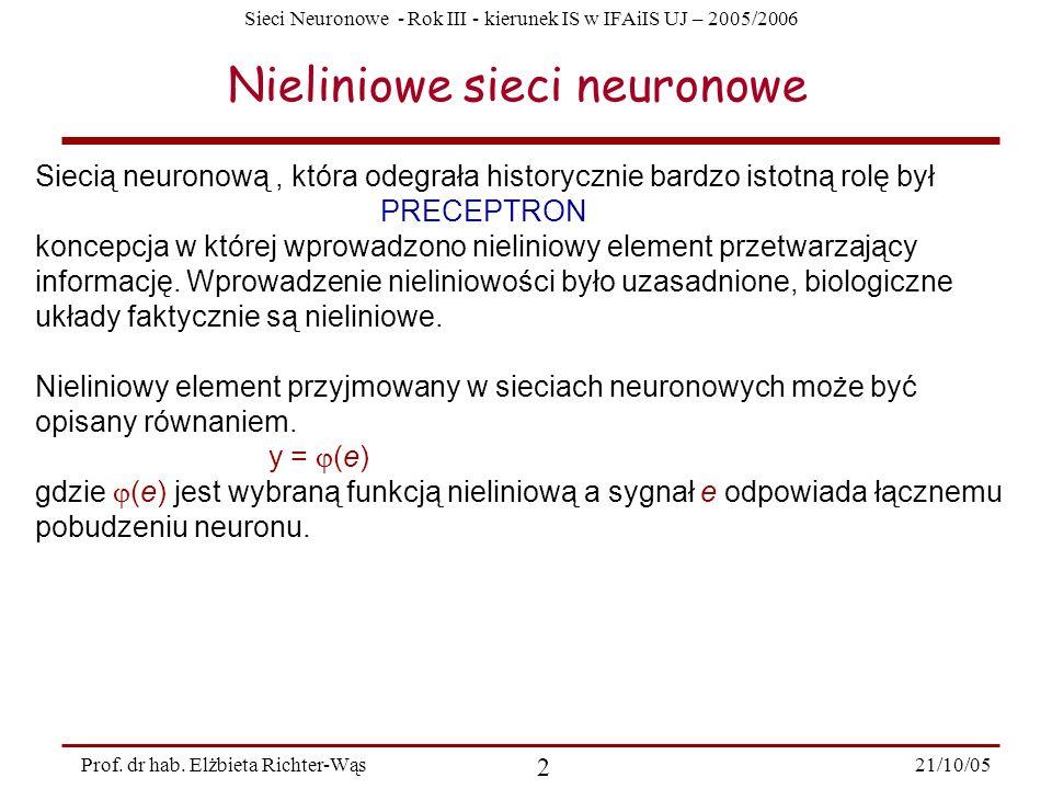 Sieci Neuronowe - Rok III - kierunek IS w IFAiIS UJ – 2005/2006 21/10/05 2 Prof. dr hab. Elżbieta Richter-Wąs Nieliniowe sieci neuronowe Siecią neuron