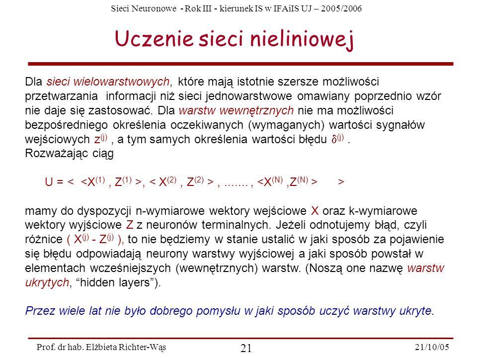 Sieci Neuronowe - Rok III - kierunek IS w IFAiIS UJ – 2005/2006 21/10/05 21 Prof. dr hab. Elżbieta Richter-Wąs Uczenie sieci nieliniowej Dla sieci wie