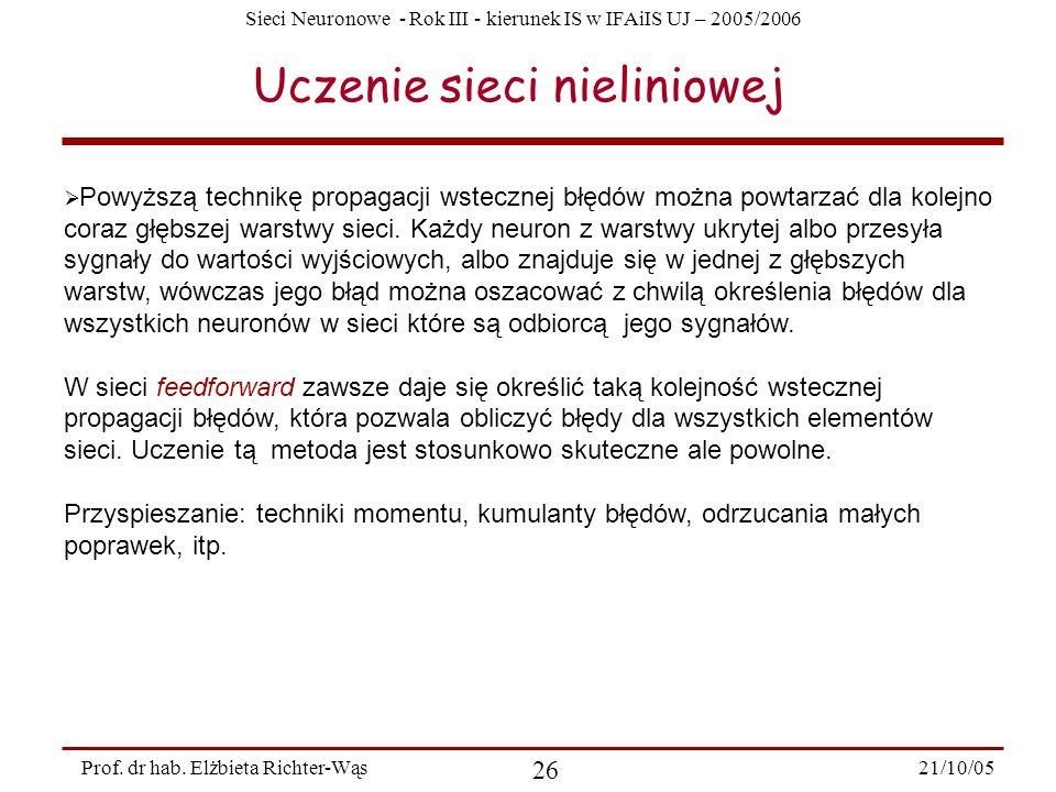 Sieci Neuronowe - Rok III - kierunek IS w IFAiIS UJ – 2005/2006 21/10/05 26 Prof. dr hab. Elżbieta Richter-Wąs Uczenie sieci nieliniowej Powyższą tech