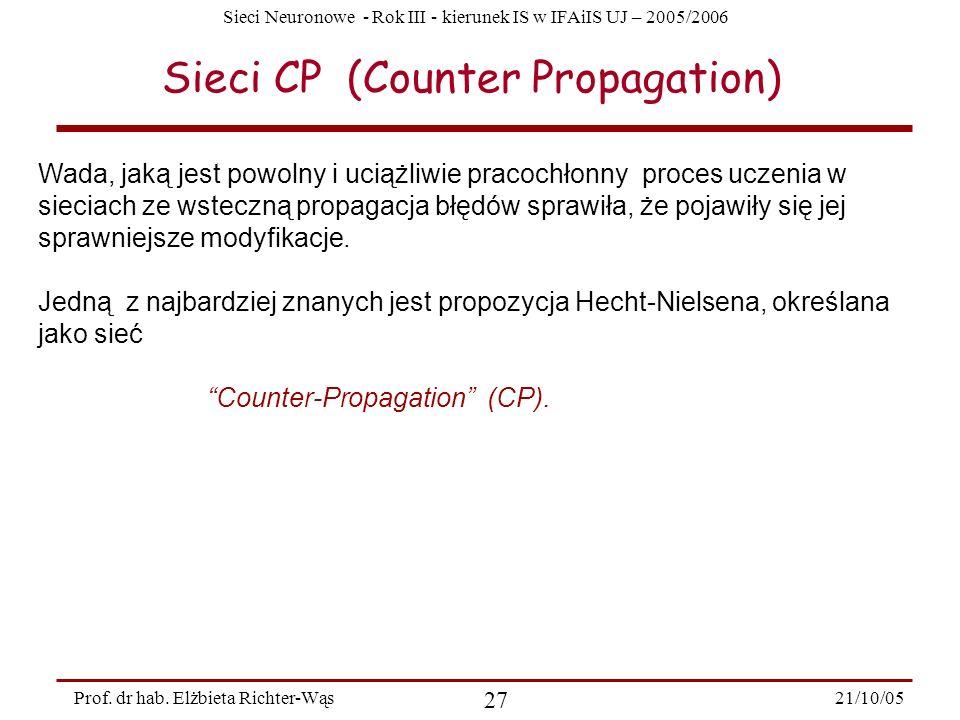 Sieci Neuronowe - Rok III - kierunek IS w IFAiIS UJ – 2005/2006 21/10/05 27 Prof. dr hab. Elżbieta Richter-Wąs Sieci CP (Counter Propagation) Wada, ja