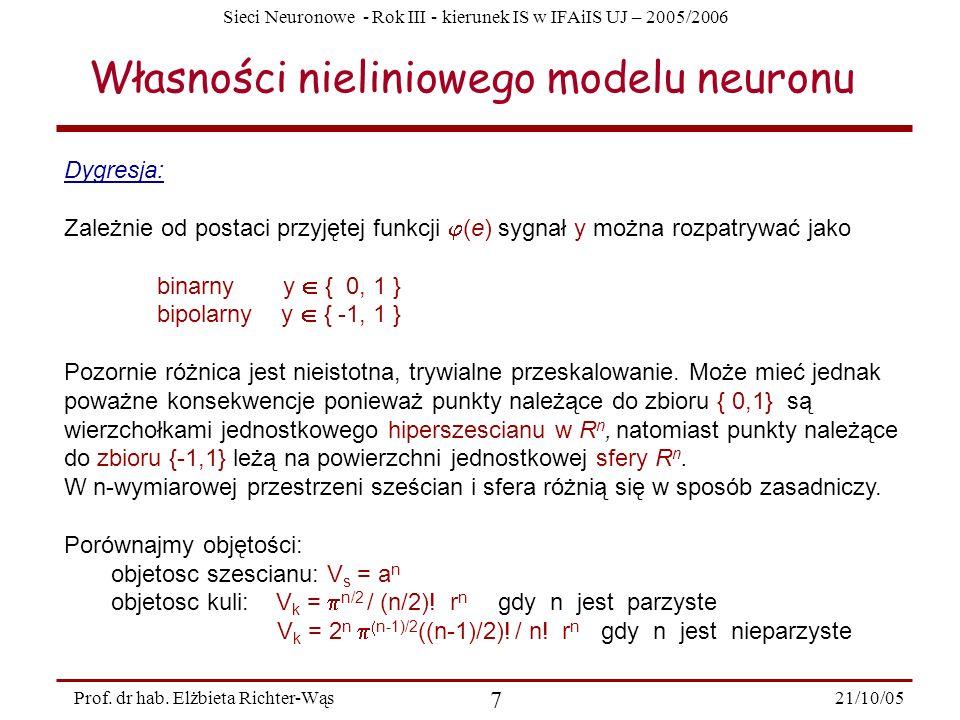 Sieci Neuronowe - Rok III - kierunek IS w IFAiIS UJ – 2005/2006 21/10/05 7 Prof. dr hab. Elżbieta Richter-Wąs Własności nieliniowego modelu neuronu Dy