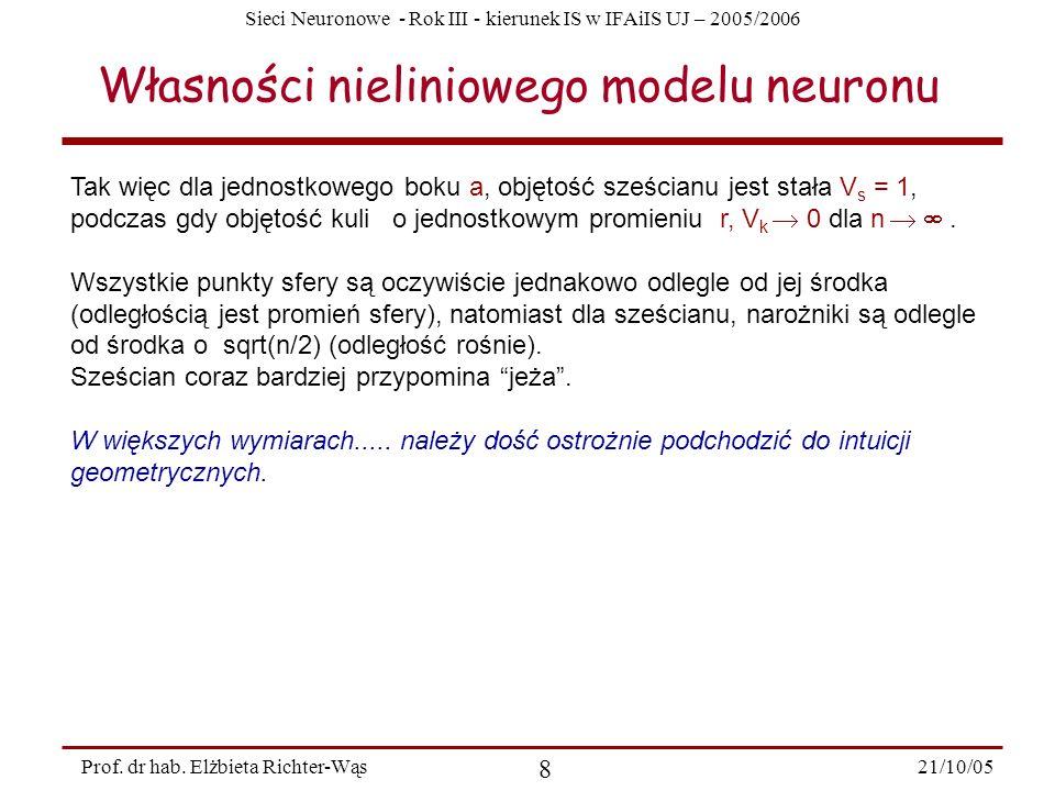 Sieci Neuronowe - Rok III - kierunek IS w IFAiIS UJ – 2005/2006 21/10/05 8 Prof. dr hab. Elżbieta Richter-Wąs Własności nieliniowego modelu neuronu Ta