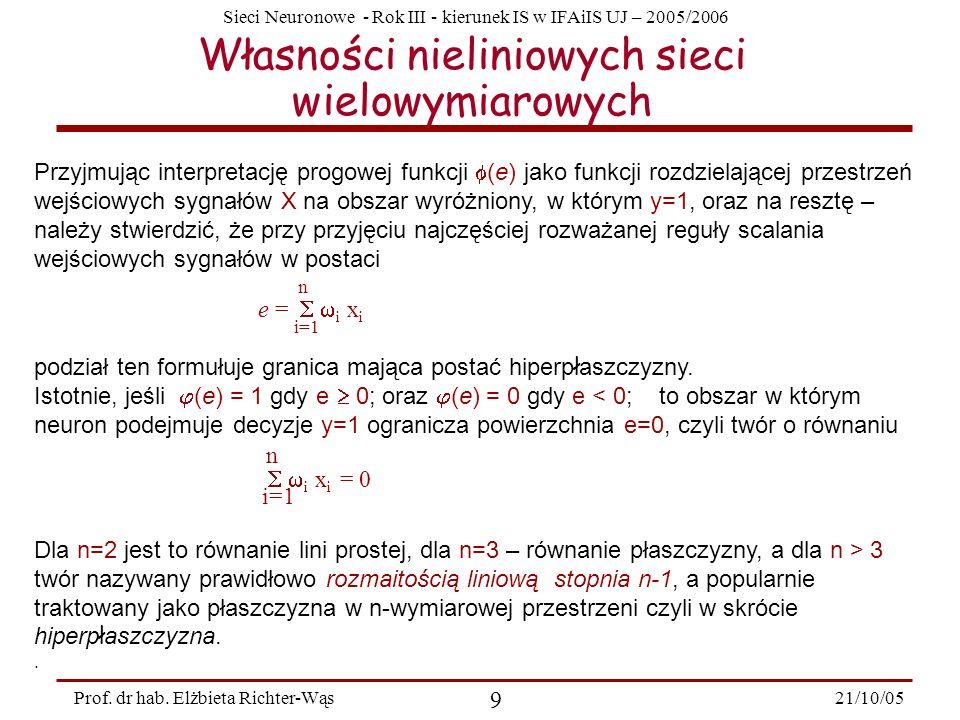 Sieci Neuronowe - Rok III - kierunek IS w IFAiIS UJ – 2005/2006 21/10/05 9 Prof. dr hab. Elżbieta Richter-Wąs Własności nieliniowych sieci wielowymiar